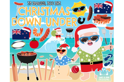 Christmas Down Under Clipart - Lime and Kiwi Designs