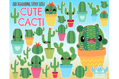 Cute Cacti Clipart - Lime and Kiwi Designs