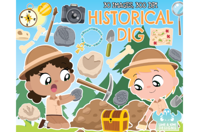 Historical Dig Clipart - Lime and Kiwi Designs