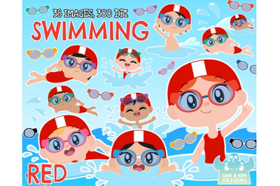 Swimming Clipart - Red - Lime and Kiwi Designs