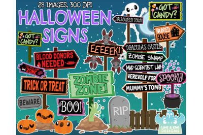 Halloween Signs Clipart - Lime and Kiwi Designs