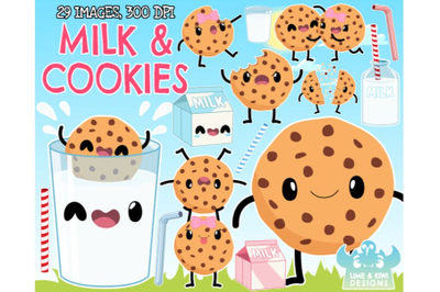 Milk and Cookies Clipart - Lime and Kiwi Designs