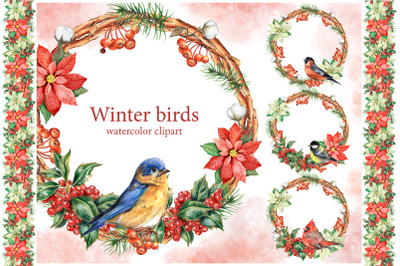 Winter birds watercolor clipart. Christmas decor, decorative frames
