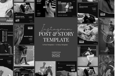 Monochrome Style Instagram Post and Story Template