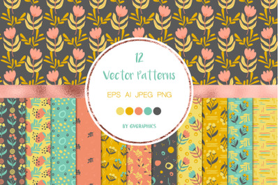 12 Seamless Floral patterns with doodles