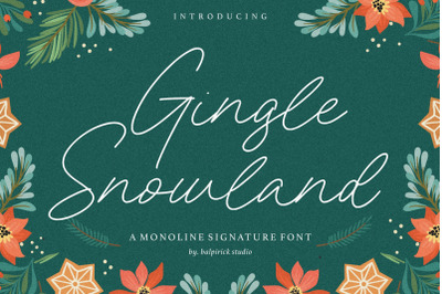 Gingle Snowland Monoline Signature Font