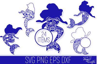Mermaid Mandala SVG Cut Files Pack