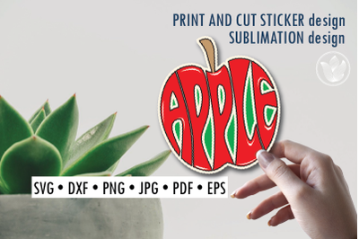 Apple Print and cut sticker, Sublimation design for t-shirts
