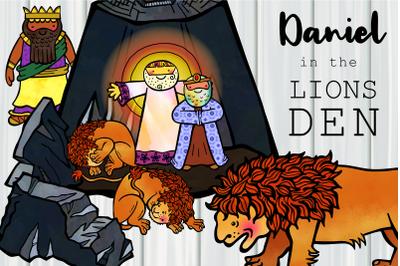 Daniel in the Lions Den Cartoon Christian Bible Clipart