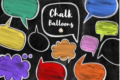 Chalk Board Word Bubbles Speech Clipart