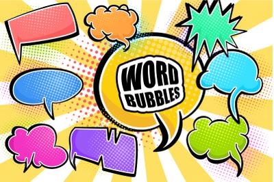 Comic Word Bubbles Retro Speech Clipart