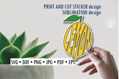Lemon Print and cut sticker, Sublimation design for t-shirts