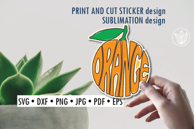 Orange Print and cut sticker, Sublimation design for t-shirts