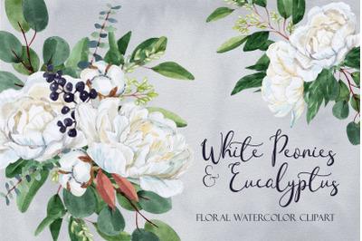 White Peonies and Eucalyptus. White Wedding Clipart