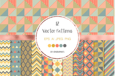 12 Geometric Seamless Patterns, Colorful triangles and chevron