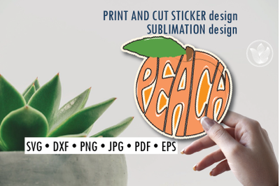 Peach Print and cut sticker, Sublimation design for t-shirts