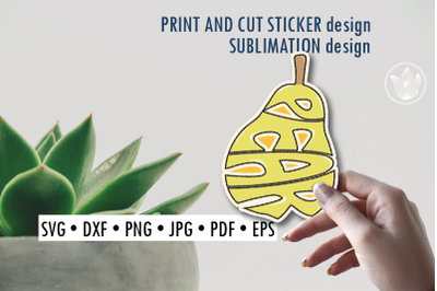 Pear Print and cut sticker, Sublimation design for t-shirts