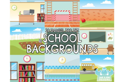 School Backgrounds Clipart - Lime and Kiwi Designs