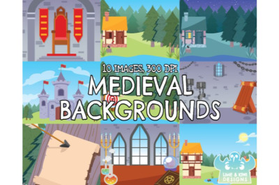 Medieval Backgrounds Clipart - Lime and Kiwi Designs