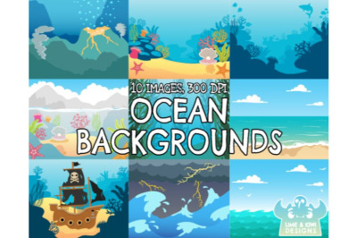 Ocean Backgrounds - Lime and Kiwi Designs