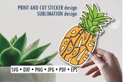 Pineapple Print and cut sticker, Sublimation design for t-shirts