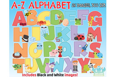 A-Z Alphabet Clipart - Lime and Kiwi Designs