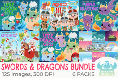 Dragons and Swords Clipart Bundle - Lime and Kiwi Designs