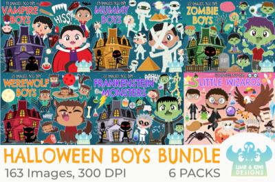 Halloween Boys Clipart Bundle - Lime and Kiwi Designs