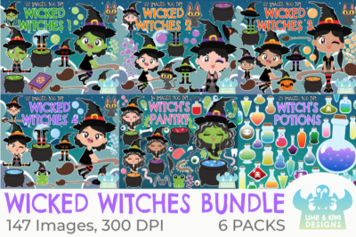 Wicked Halloween Witches Clipart Bundle - Lime and Kiwi Designs