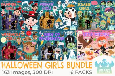 Halloween Girls Clipart Bundle - Lime and Kiwi Designs