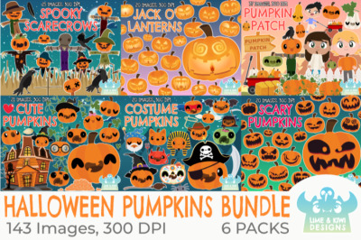 Halloween Pumpkins Clipart Bundle - Lime and Kiwi Designs