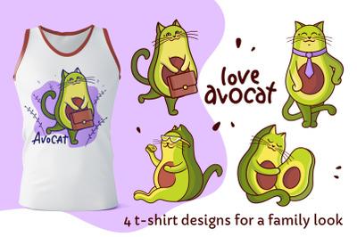 Set of avocado cats. Apparel designs