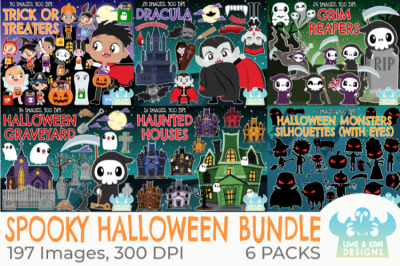 Spooky Halloween Clipart Bundle - Lime and Kiwi Designs