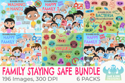 Family Staying Safe Clipart Bundle - Lime and Kiwi Designs