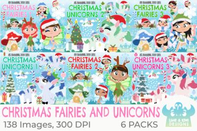 Christmas Fairies and Unicorns Clipart Bundle - Lime and Kiwi Designs