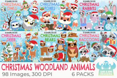 Christmas Woodland Animals Clipart Bundle - Lime and Kiwi Designs