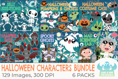 Halloween Characters Clipart Bundle - Lime and Kiwi Designs