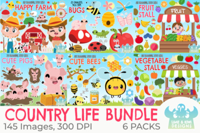 Country Life Clipart Bundle - Lime and Kiwi Designs