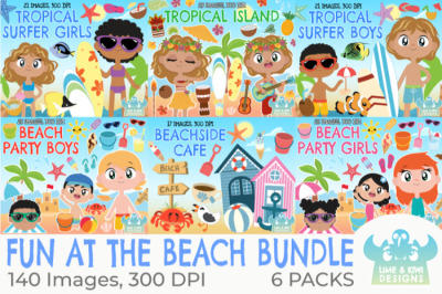 Fun at the Beach Clipart Bundle - Lime and Kiwi Designs