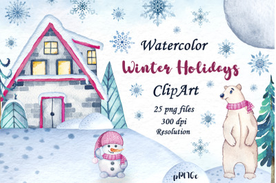 Watercolor winter holidays clipart