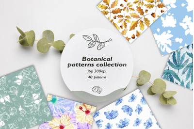 Seamless patterns collection. 40 patterns