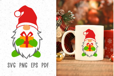 Santa gnome svg Christmas sublimation designs Gnomes svg cut file