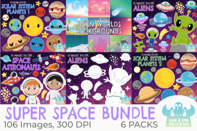 Super Space Clipart Bundle - Lime and Kiwi Designs