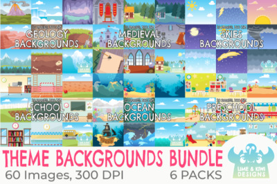 Themed Backgrounds Clipart Bundle - Pack 1 - Lime and Kiwi Designs