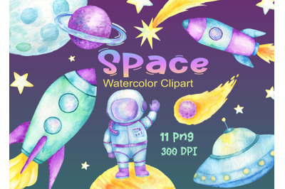 Watercolor Space Clipart  planets clip art  astronaut rocket Flying sa