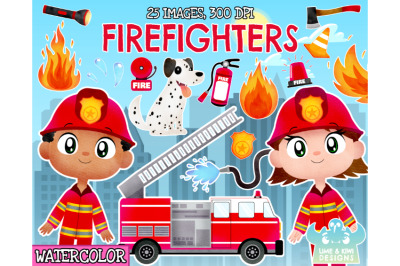 Firefighter Watercolor Clipart - Lime and Kiwi Designs