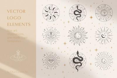 Sacred Sun Logo Design Illustrations. Decorative moon, stars, sunburst