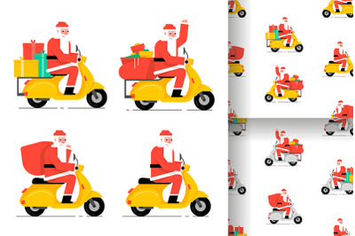 Santa Claus driving scooter