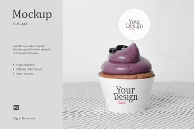 Blueberry Jam Cupcake Topper Mock Up | Compatible W/ Affinity Designer