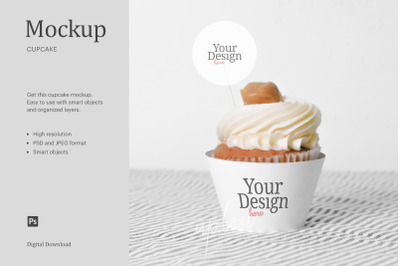 Cream Caramel Cupcake Topper Mock Up | Compatible W/ Affinity Designer